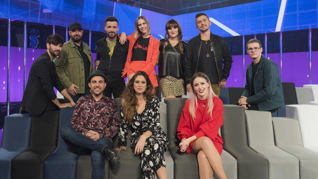 Los compositores acompañaron a los concursantes de 'OT' en la gala especial de Eurovisión.
