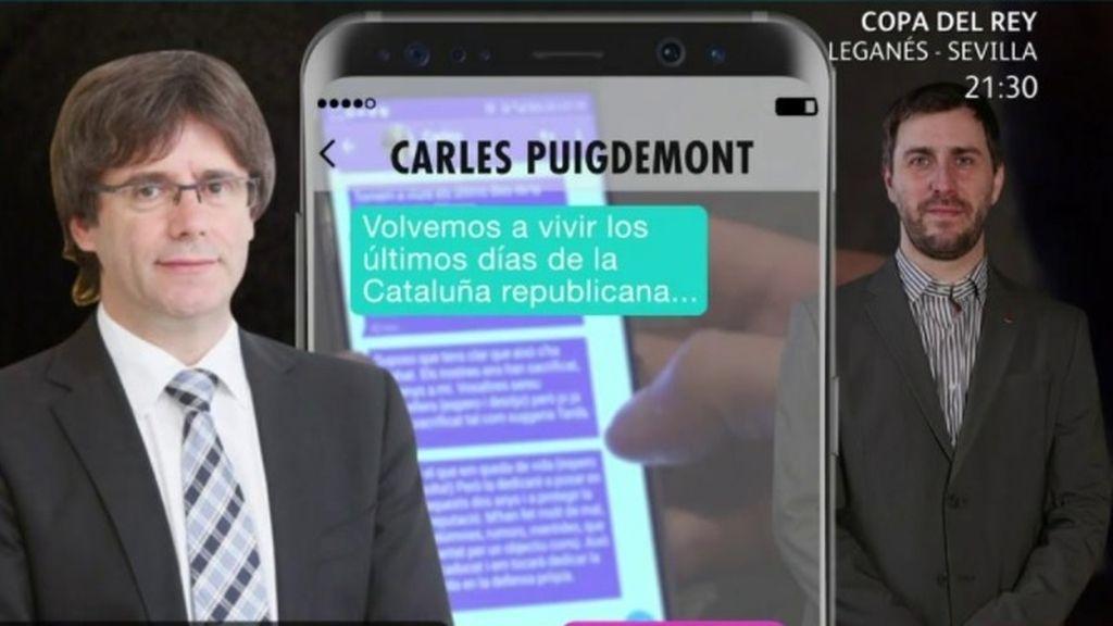 Los mensajes de Puigdemont declarando el fin de la Cataluña republicana