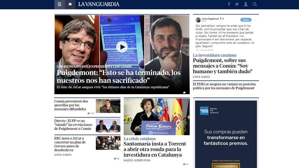 La exclusiva de 'AR' con los mensajes de Puigdemont, portada de los principales diarios