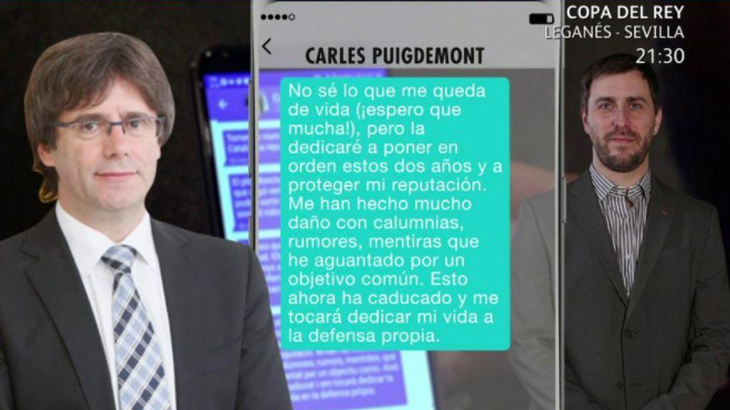 Los mensajes de Puigdemont declarando el fin de la Cataluña republicana, en imagen