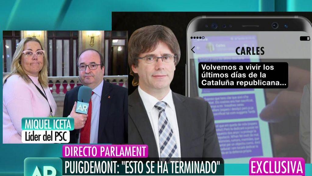 """Iceta, sobre los mensajes de Puigdemont: """"O proponen otro candidato o habrá elecciones"""""""