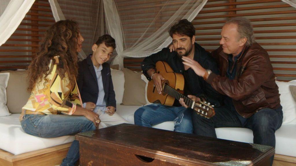 Rosario Flores, Adrián Martín, Antonio Orozco y Bertín Osborne, en 'Mi casa es la tuya'.