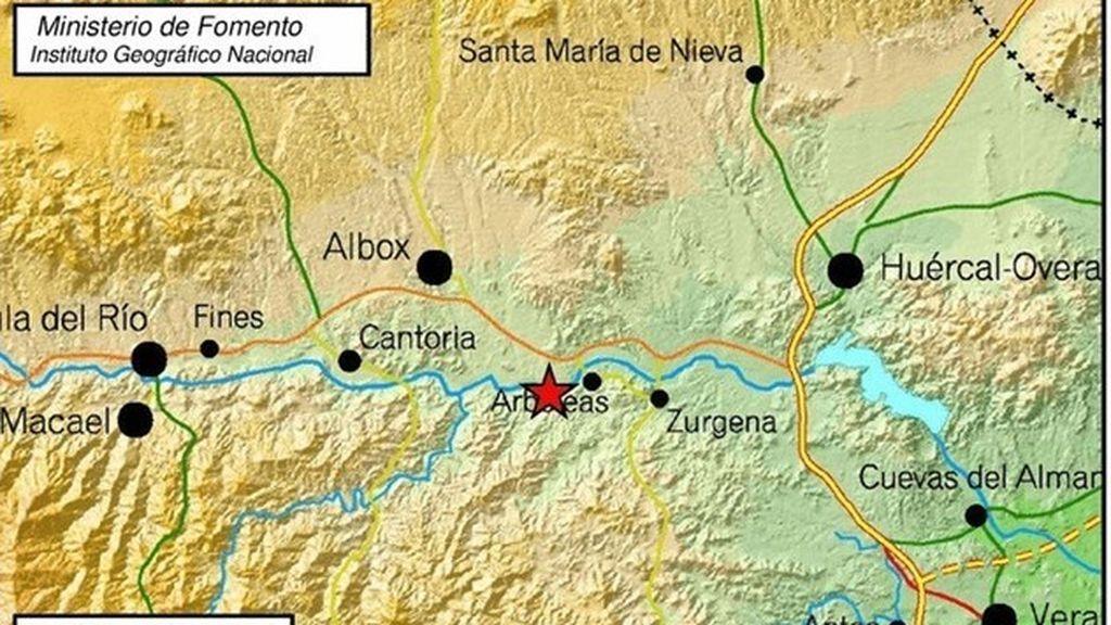 Registrado un terremoto de magnitud 3,1 con epicentro en Arboleas (Almería)
