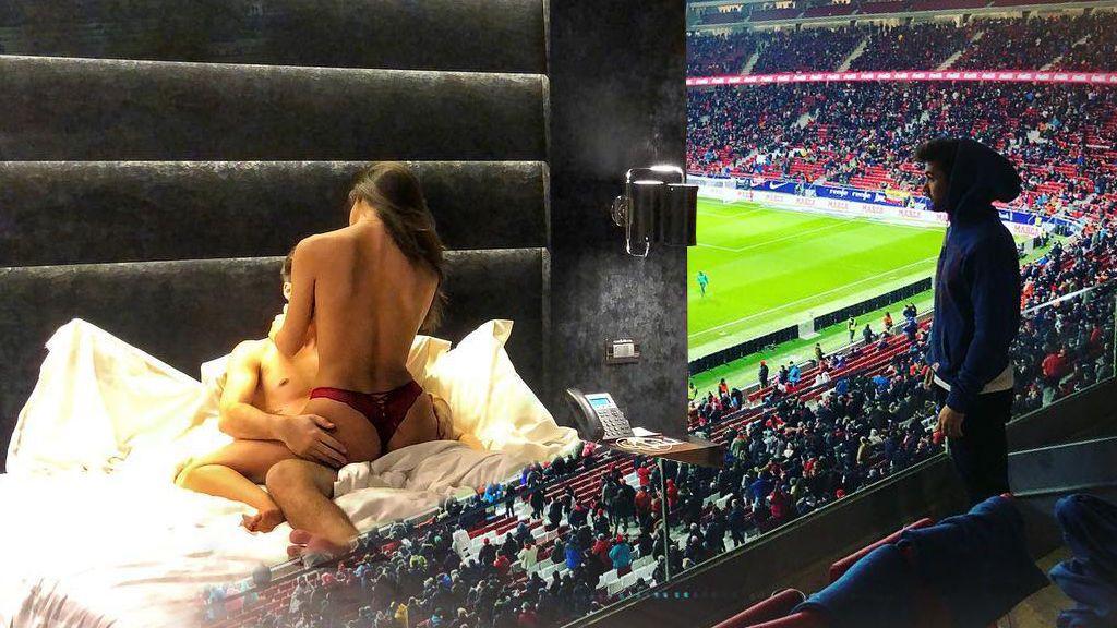 ¿Una madridista infiltrada en el Atlético? Sofia Suescun 'disfruta' en el Wanda Metropolitano