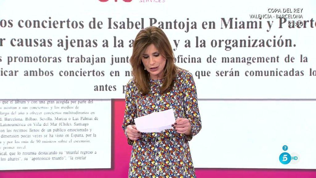 Isabel Pantoja lanza un comunicado con las razones por las que ha suspendido su gira en Estados Unidos