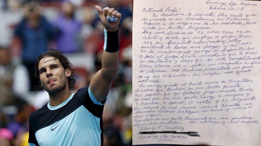 """La bisabuela de 92 años que conmueve al mundo con su carta a Rafa Nadal: """"Estoy pendiente de todos los partidos"""""""