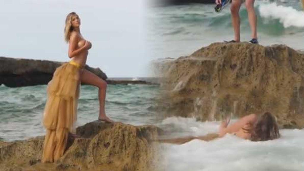 ¡Cuidado con las olas! Kate Hudson se despistó en una sesión de fotos y acabó en el agua
