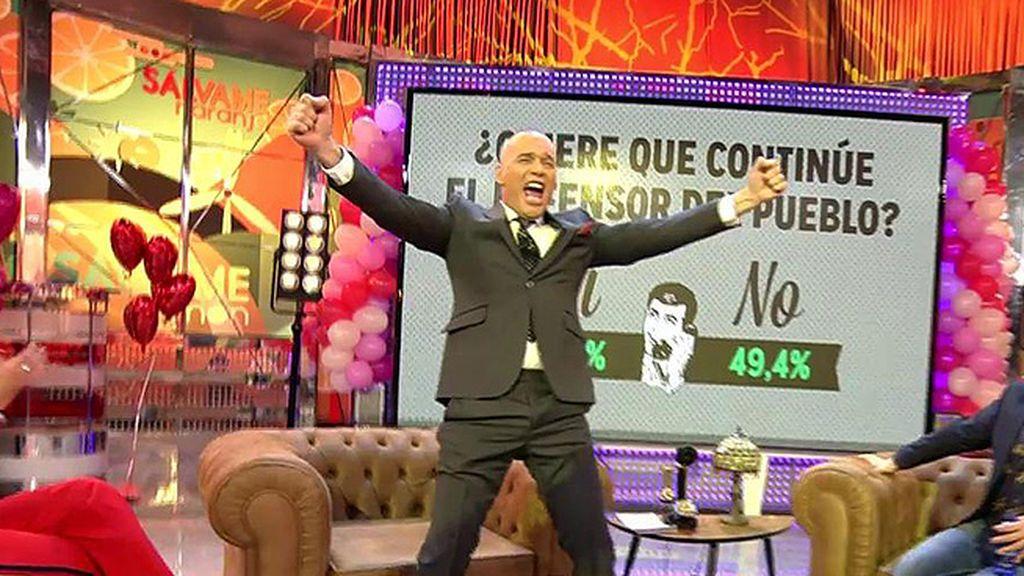 ¡Con un 50.6% de los votos, la audiencia decidido que Carlos Lozano siga siendo el defensor del pueblo de 'Sálvame'!