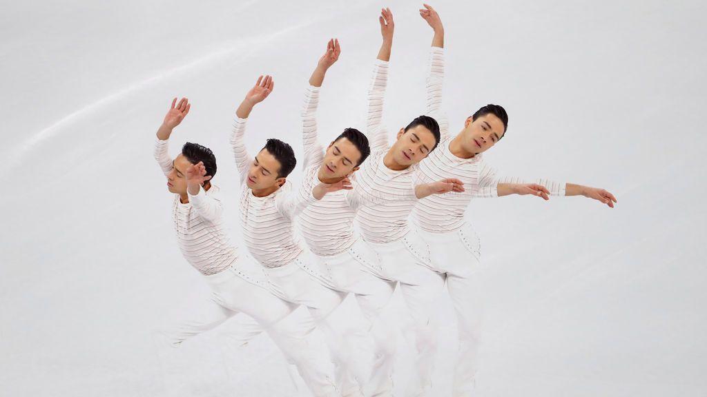 El español Felipe Montoya realiza su ejercicio de patinaje artístico en los Juegos Olímpicos de invierno de Pyeongchang, Corea del Sur