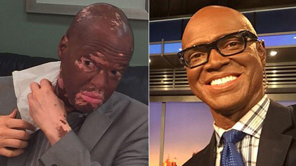 Lee Thomas se maquilla antes de presentar las noticias