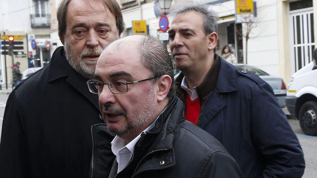 El presidente de Aragón, Javier Lambán, a su llegada a la reunión del Comité Federal del PSOE que se celebra en Aranjuez (Madrid)