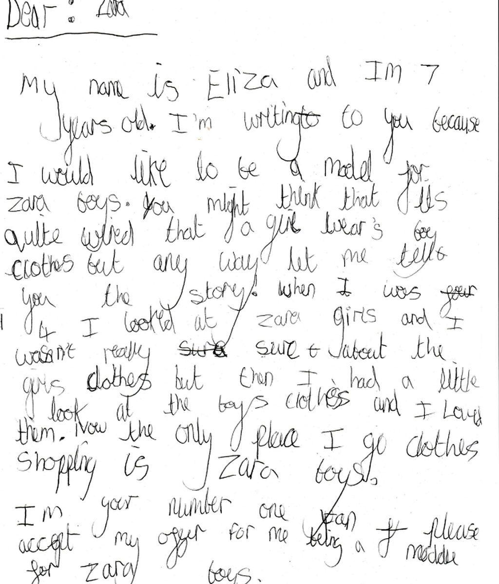 Una niña de 7 años pide a Zara poder ser su modelo masculina y la compañía quiere conocerla