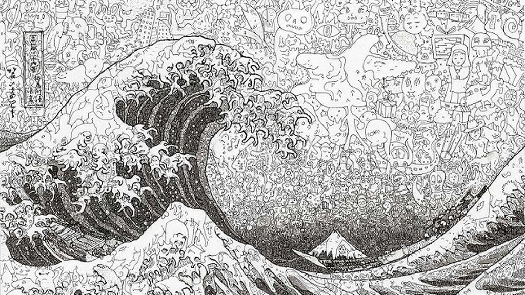 ¿Ves algo raro en estos cuadros? Keita Sagaki recrea obra clásicas con miles de personajes manga