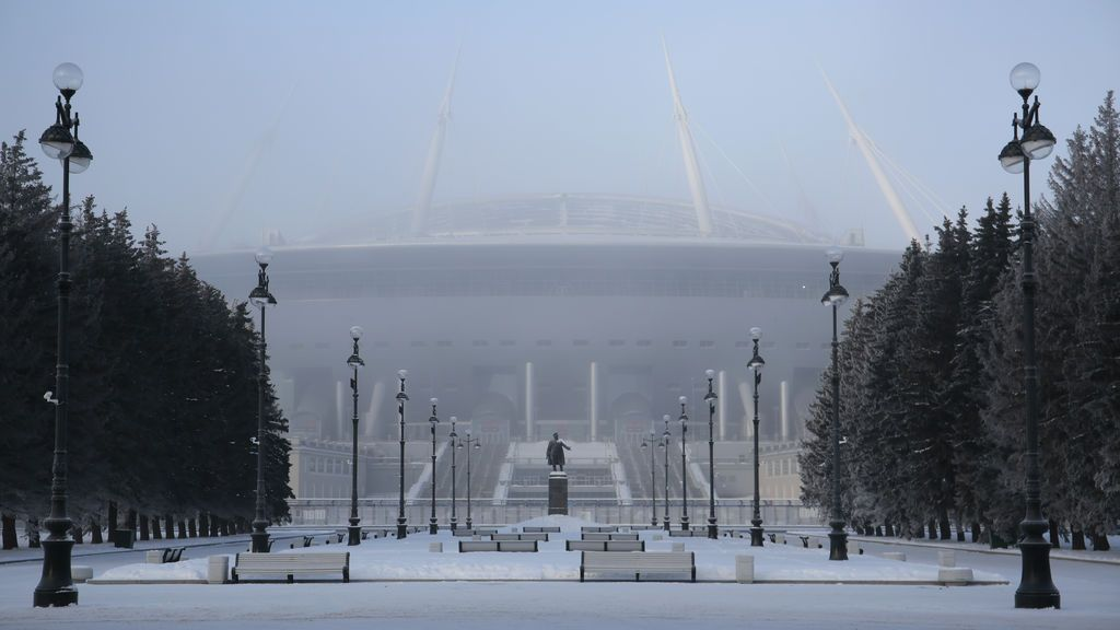 Una vista general muestra el estadio de San Petersburgo, Rusia