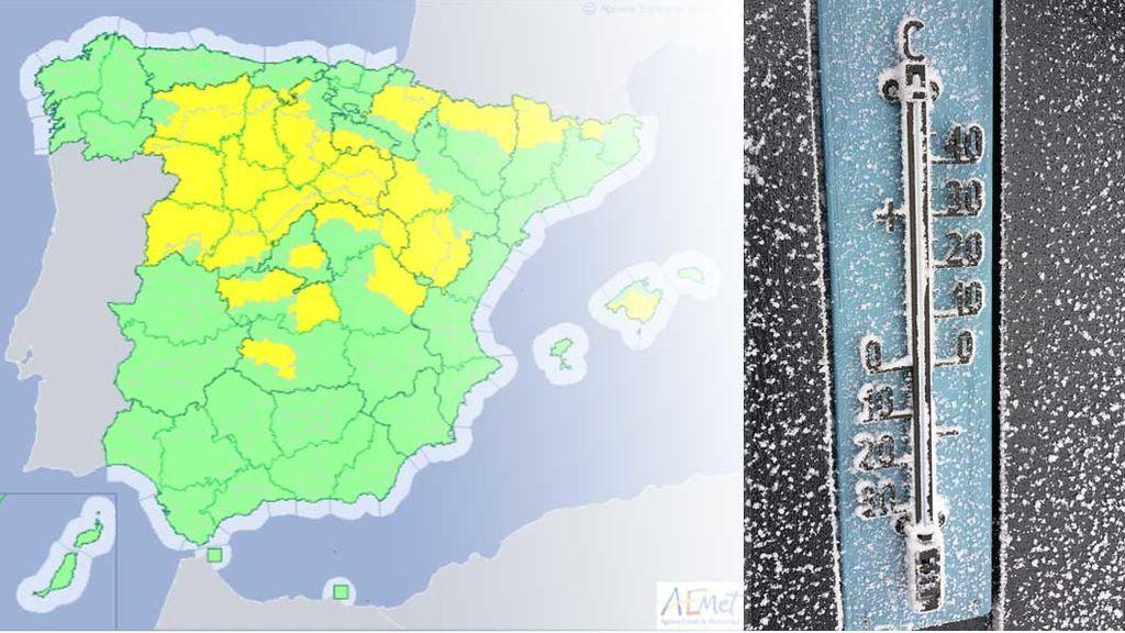Los termómetros rondarán los -8ºC este fin de semana: más de una veintena de provincias en riesgo amarillo