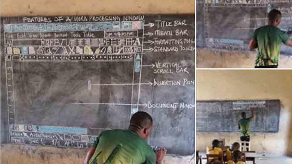 Sin recursos, este profesor de Ghana dibuja un ordenador para enseñar TIC