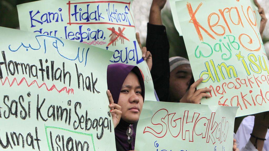 Manifestación en Malasia contra los derechos del colectivo LGTB