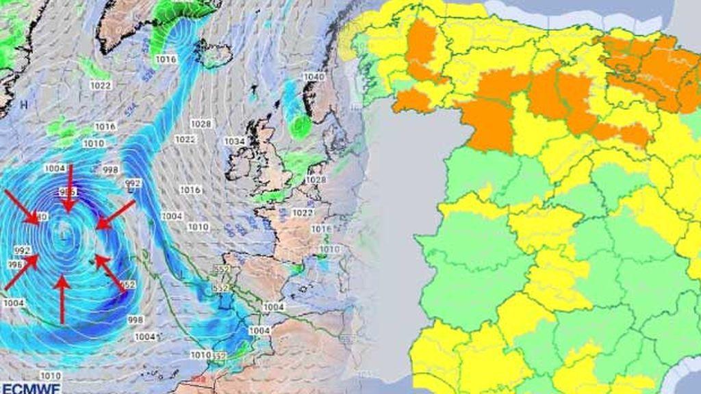 'Emma' ya está aquí: 50 provincias en aviso por frío, lluvia y nieve