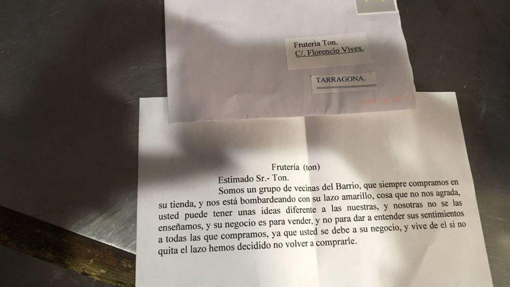 La carta de unas clientas al dueño de una frutería independentista
