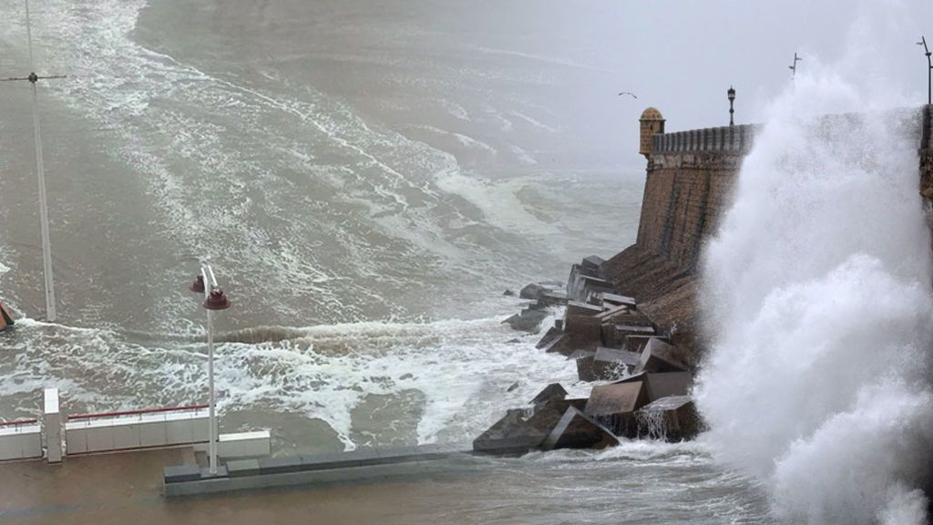 El temporal provocado por Emma deja un mini 'tsunami' en Cádiz
