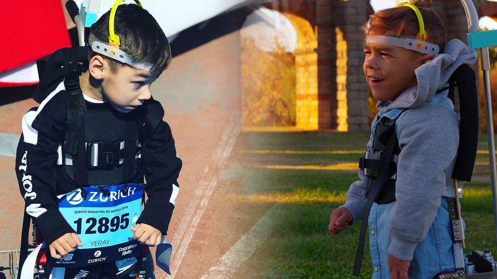 Tiene parálisis cerebral y los médicos le dijeron que nunca correría: con seis años ha cruzado la meta de la maratón de Sevilla