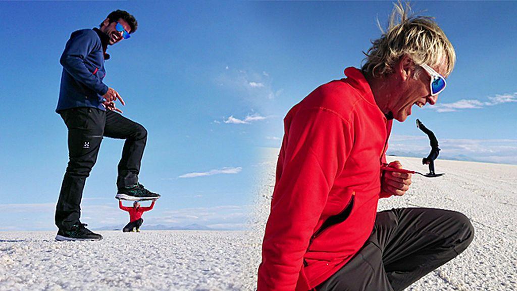 En busca de la foto perfecta: Miguel Ángel Muñoz y Calleja tiran de originalidad en un lago salado