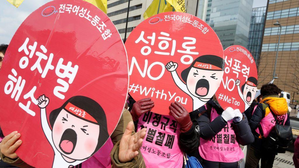 Mujeres sur coreanas participan en un acto de apoyo al Movimiento Me Too en Seúl