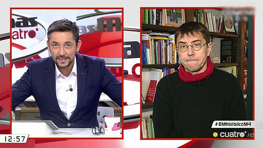"""Monedero, sobre el PP: """"Como ha perdido la credibilidad, sus afirmaciones son papel mojado"""""""