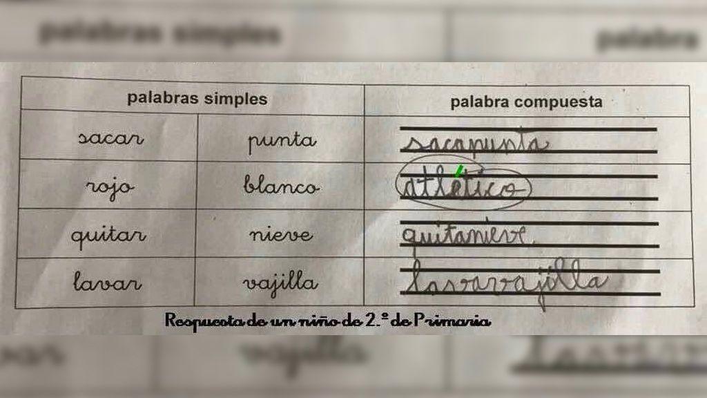 La respuesta viral de un niño de 2º de Primaria en un examen de Lengua