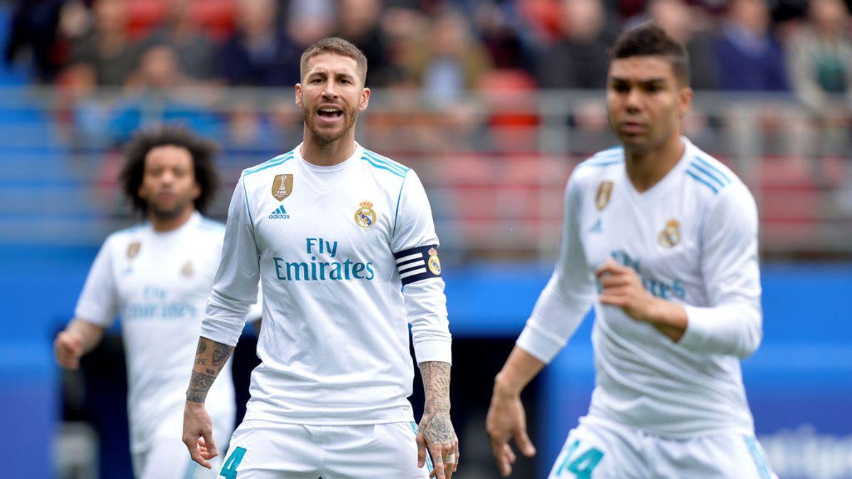 El 'apretón' de Sergio Ramos durante el partido ante el Eibar