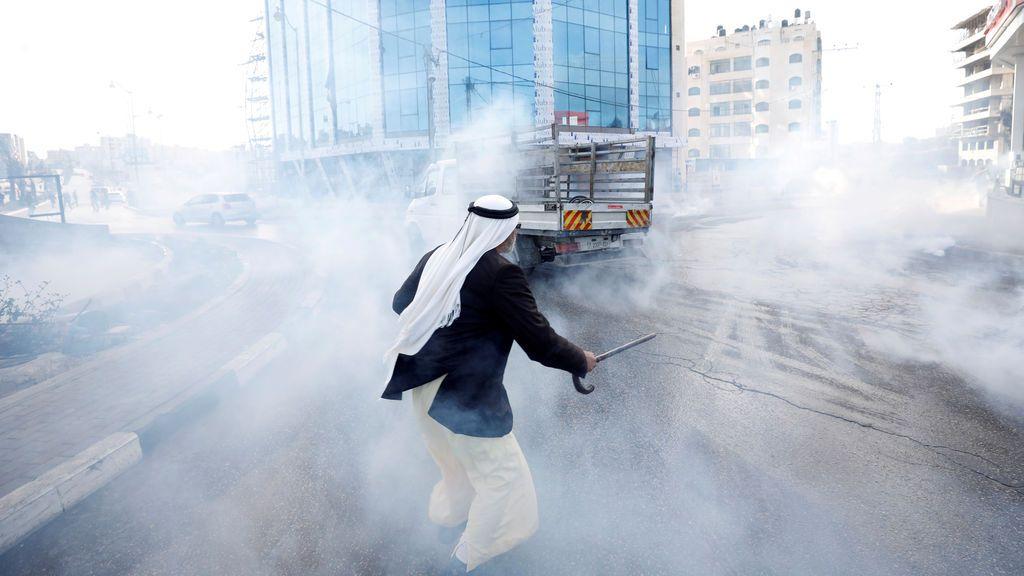 Gas lacrimógeno durante una protesta