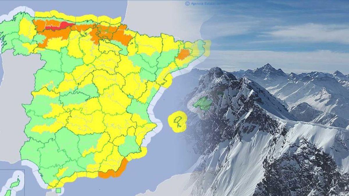 Avisos amarillos e incluso rojo repartidos en 43 provincias por viento, nieve y fuerte oleaje