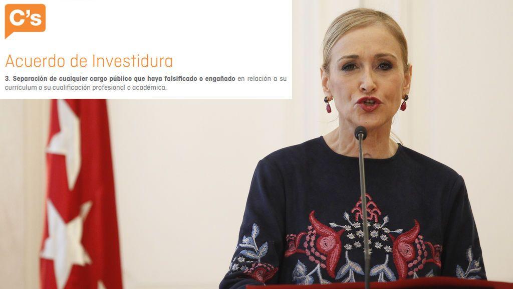 """El acuerdo entre Cifuentes y Ciudadanos exige la dimisión por """"falsificación"""" en la """"cualificación académica"""""""