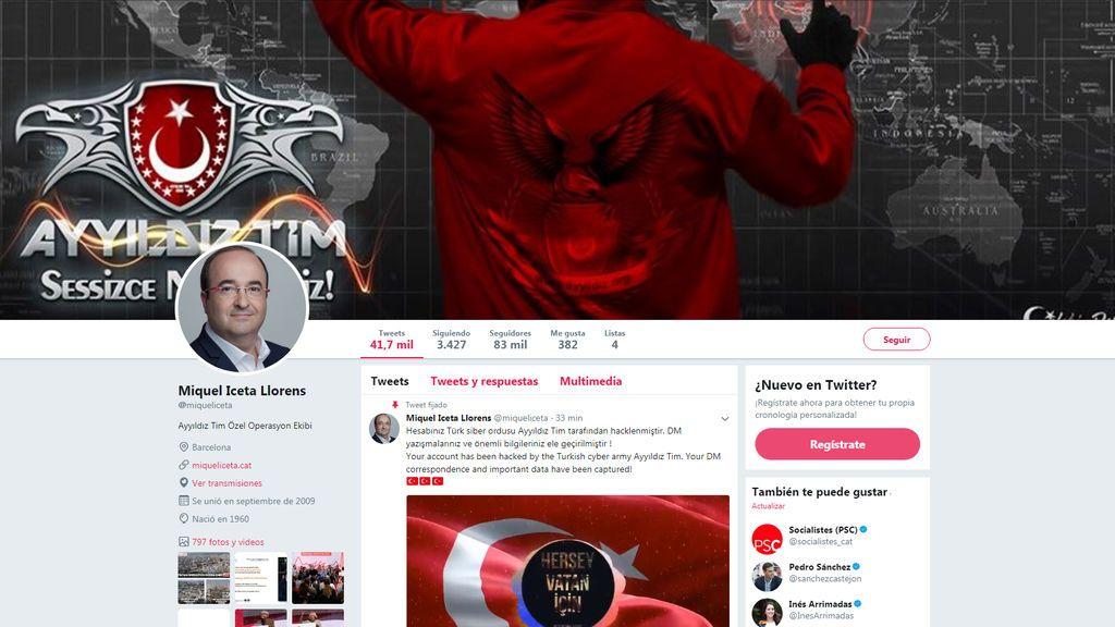 Hackean la cuenta de Twitter de Miquel Iceta durante el pleno de investidura de Turull