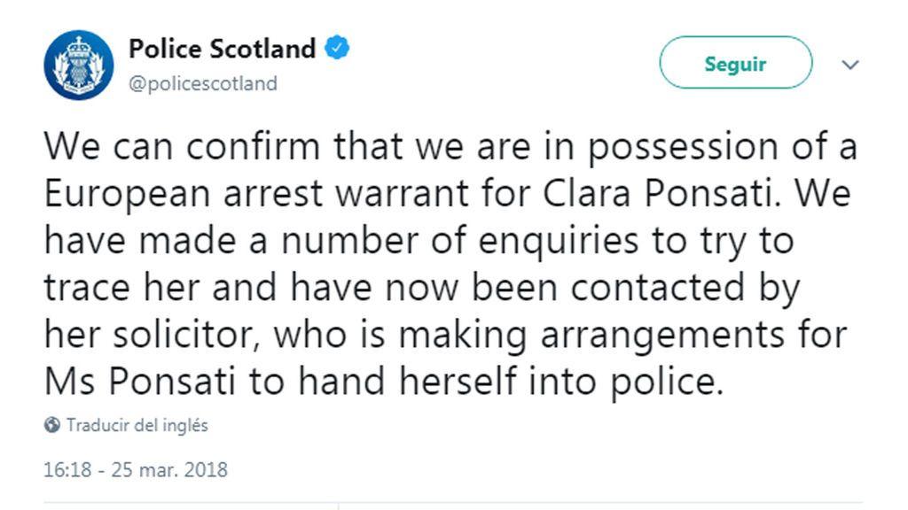 La policía escocesa pide a la exconsellera Clara Ponsatí que se entregue