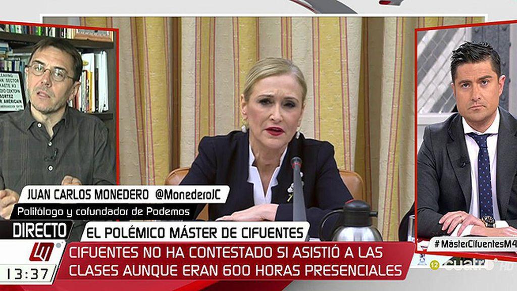 """Monedero, sobre el máster de Cifuentes: """"Le han pillado in fraganti"""""""