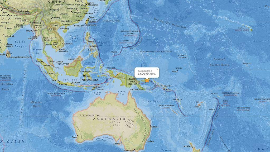 Registrado un terremoto de magnitud 7,2 en la costa este de Papúa Nueva Guinea