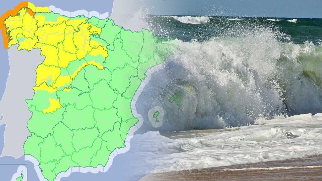 Avisos naranjas en el noroeste: olas de 7 metros y vientos de 100 km/h