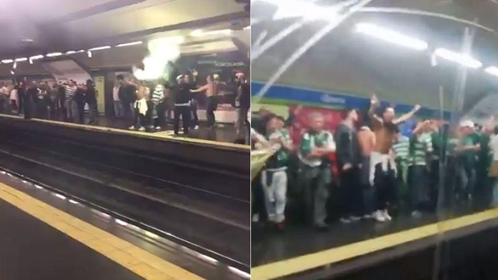 Bengalas, botes de humo… El escándalo de los radicales del Sporting de Portugal en el Metro de Madrid