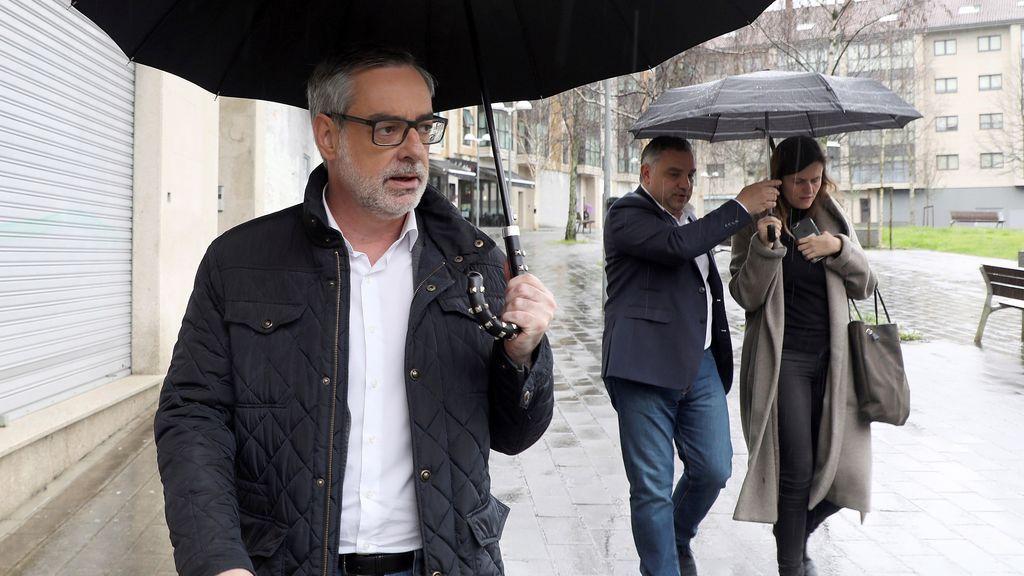 El portavoz en el Congreso de Ciudadanos, José Manuel Villegas esta mañana en Santiago de Compostela después de mantener una reunión con militantes de su partido en Galicia.