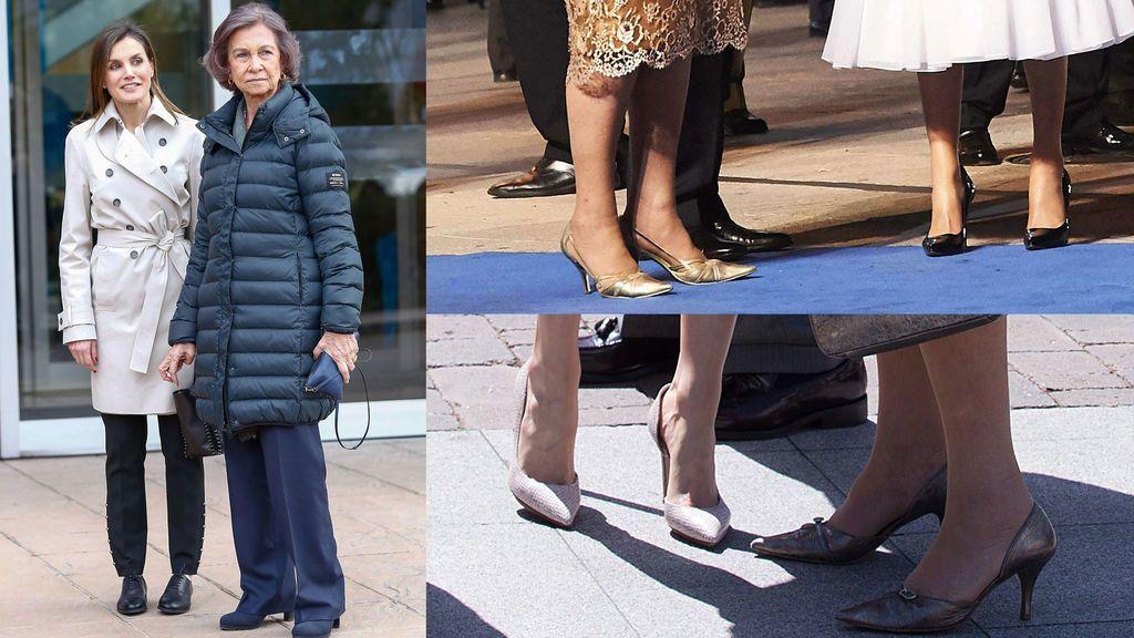 El gesto de la reaparición: Letizia se baja de los tacones para posar junto a doña Sofía