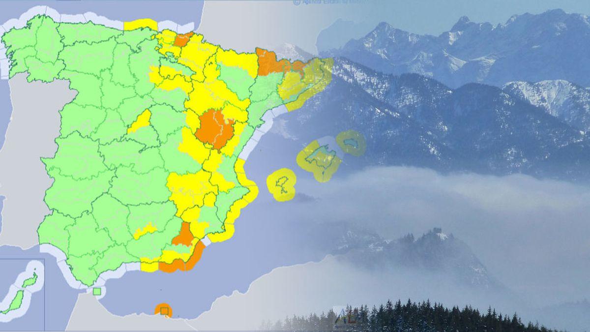 Miércoles de 'primaverno': 31 provincias tienen avisos por lluvia, viento, nieve, olas o aludes