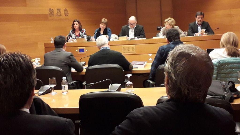 Empar Marco, directora general de la Corporació Valenciana de Mitjans de Comunicació (CVMC), segunda por la izquierda, en una comparecencia en la comisión de Radiotelevisión Valenciana y del Espacio Audiovisual de Les Corts.