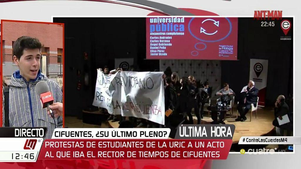 """Un alumno de la URJC: """"Se tiene que limpiar la universidad y se deben ir muchos profesores, Cifuentes la primera"""""""