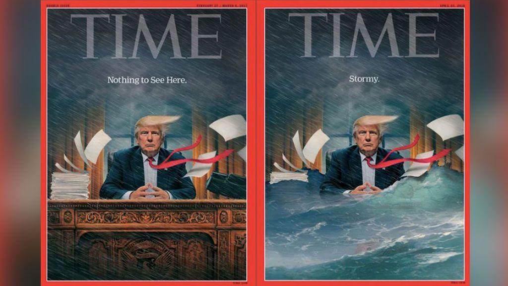 La revista 'Time' ilustra y redefine la 'tormenta' Trump en la Casa Blanca