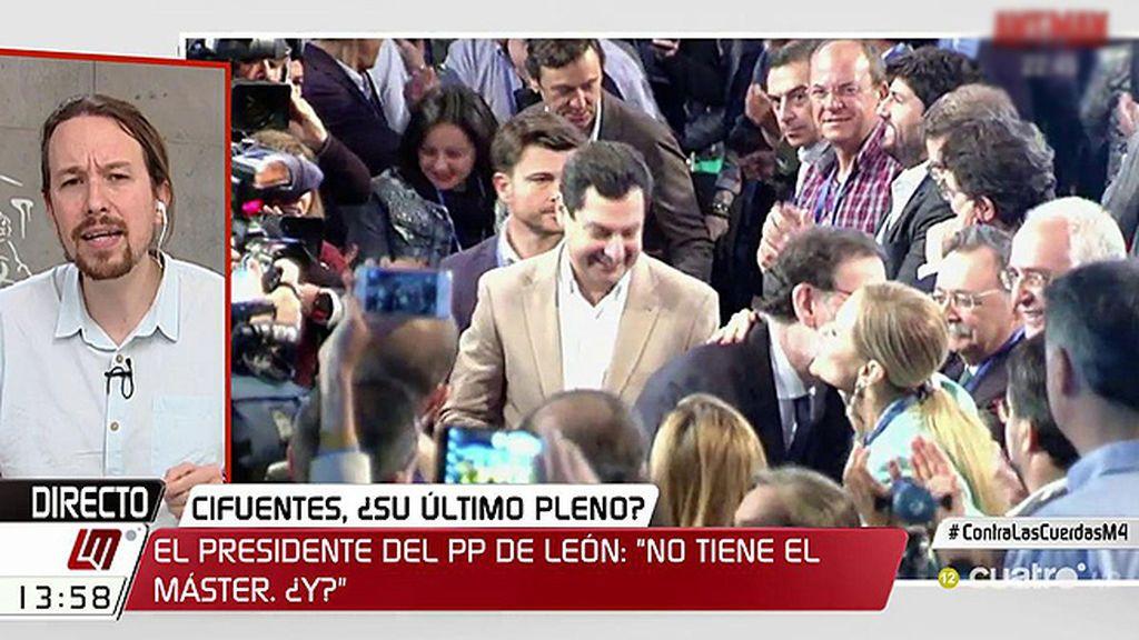 """Iglesias: """"Vamos a trabajar para ponerlo muy fácil para sacar a Cifuentes, pero Ciudadanos volverá a sostener al PP"""""""