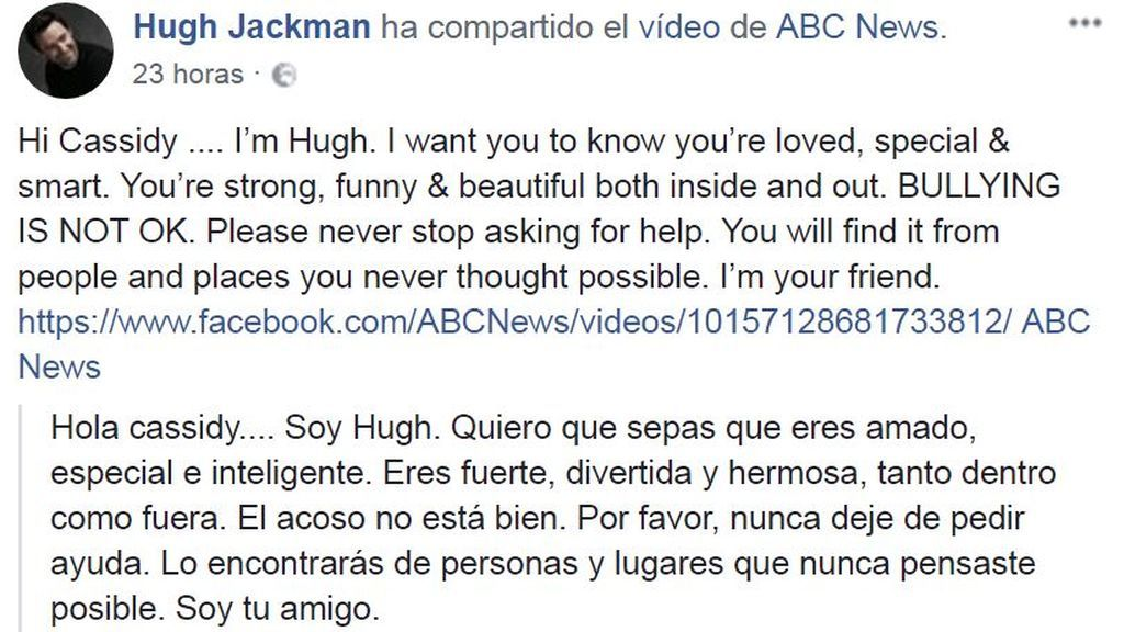 Hugh Jackman apoya a la niña víctima de bullying
