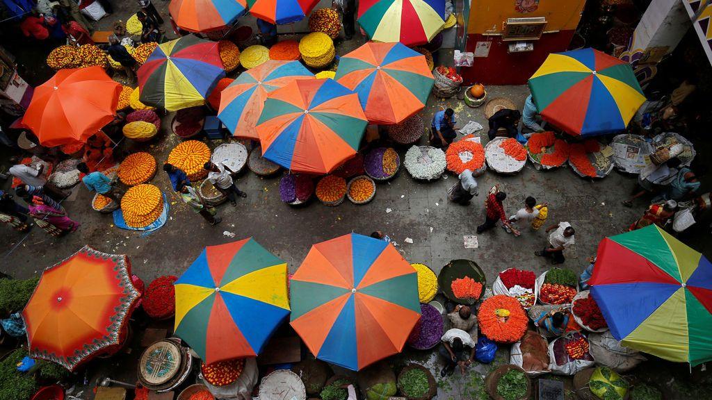 Mercado de flores en India