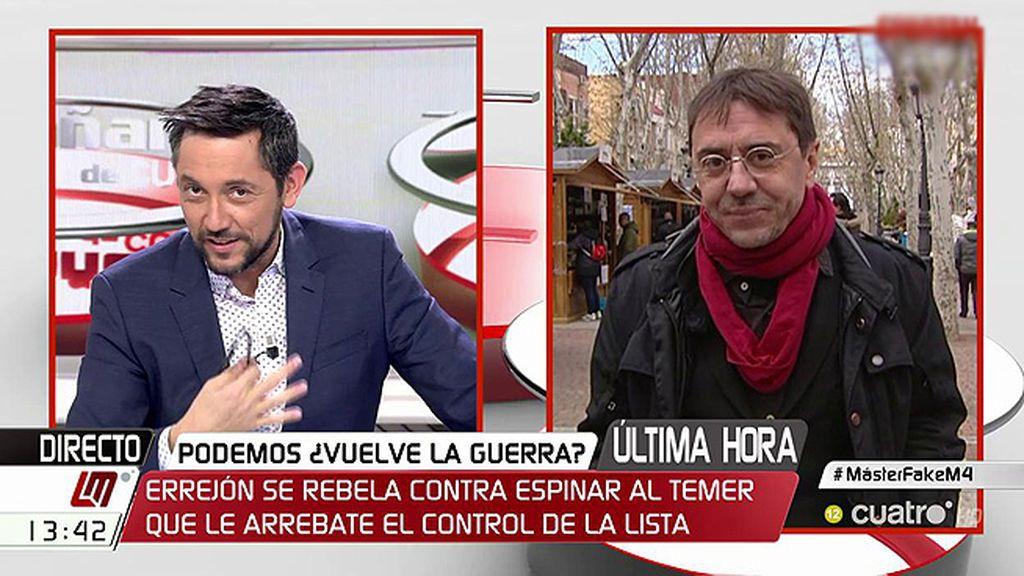 """Monedero y la polémica de Podemos en Madrid: """"Ando enfadado y cansado de niñerías"""""""