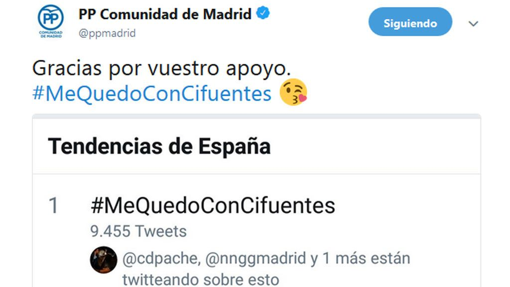 PP de Madrid lanza la campaña #MeQuedoConCifuentes para apoyar a su presidenta